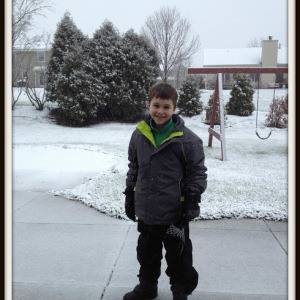 LJ and the First Snow (and snow pants that will grow with him)