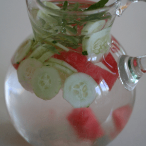 Make your own flavored water – cucumber, watermelon, and basil.
