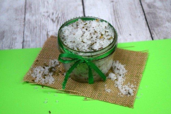 mint sugar scrub in a colored jar