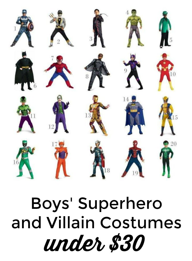Check out these adorable boys' superhero and villain costumes for under $30!! #halloween