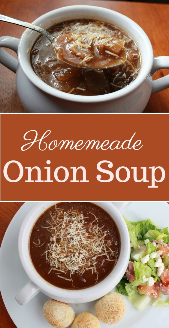 This delicious homemade onion soup recipe is easy to make but tastes as good as(no, better) than your favorite restaurant's version.