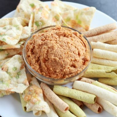 Roasted Red Pepper Hummus (with a Hint of Garlic)