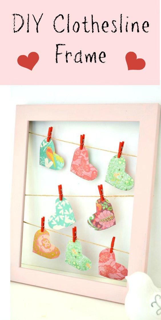 This easy and fun to make DIY display frame is perfect for showing off your Valentines, photos or any seasonal decor. #Valentine #ValentinesDay #DIY #decor