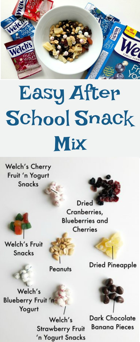 Crazy after school schedule? We are sharing our favorite snack mix that is easy to take with you no matter where you are headed. #BacktoSchool #WelchsFruitnYogurtSnacks
