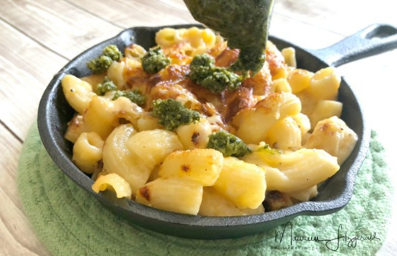 baked mac and cheese with pesto