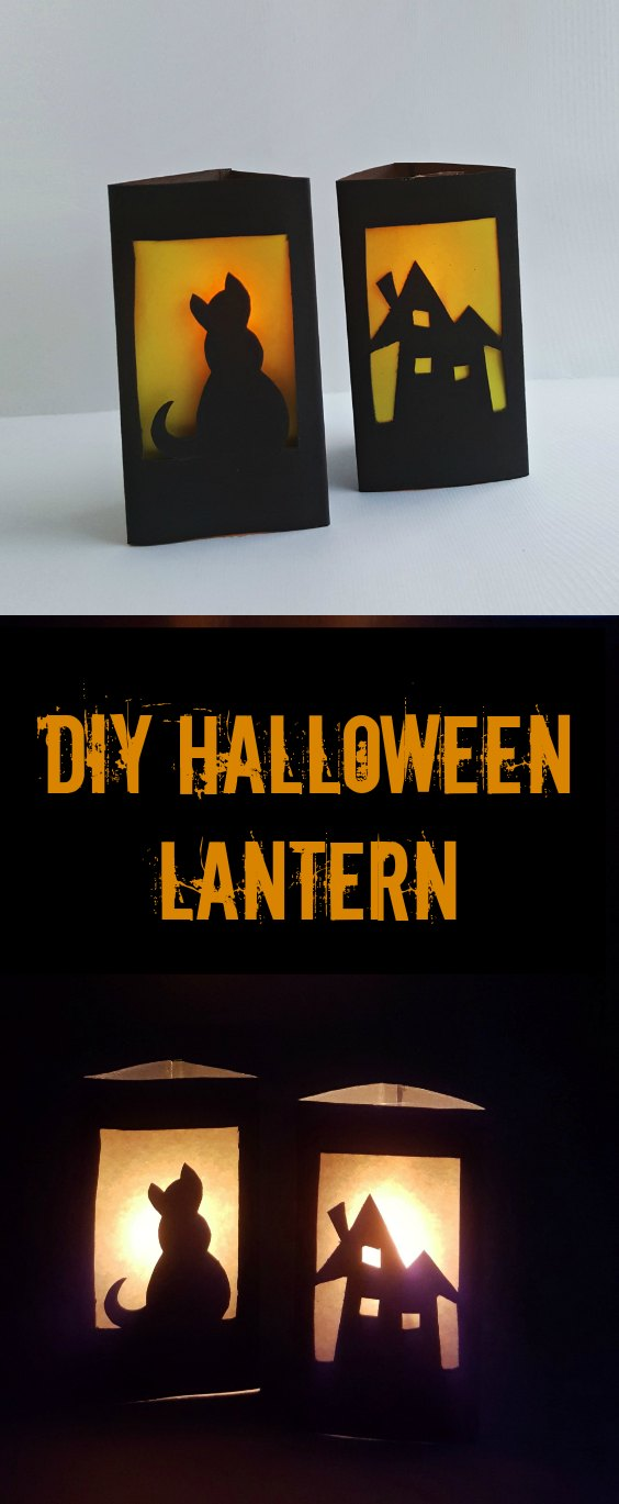 These DIY Halloween lanterns are easy to make and fun to use. No special tools needed and can be completed in just minutes. Create your own Halloween decor with this easy DIY craft project. Kid friendly with some supervision needed for cutting.