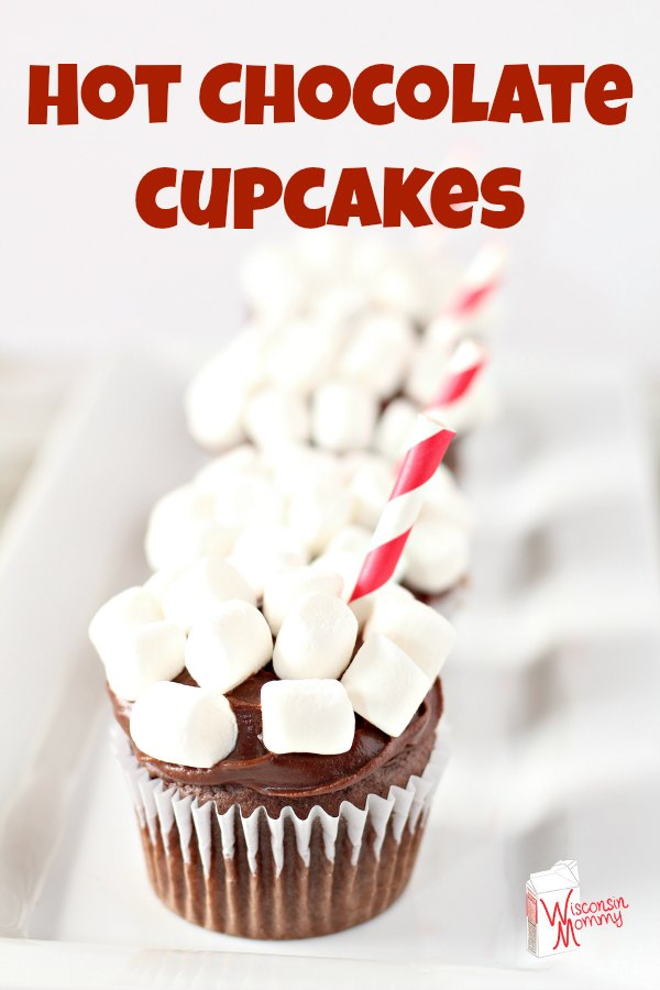 These delicious Hot Chocolate Cupcakes are fun to make and even more fun to eat!! #chocolate #recipes #hotchocolate
