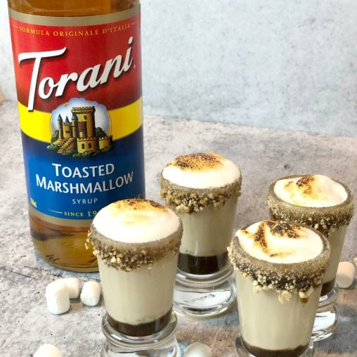 s'mores martini shooters marshmallow syrup