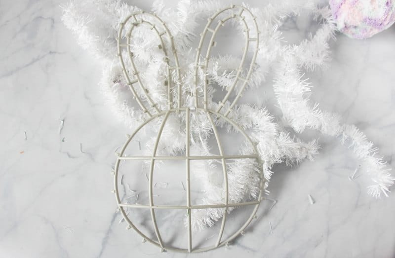 DIY bunny butt wreath supplies