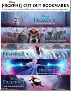 Frozen 2 printable bookmarks