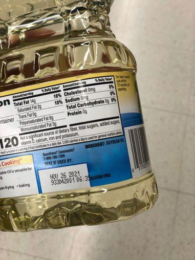 ingredient list on soybean oil bottle