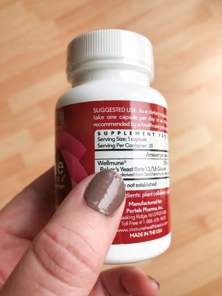 Back of Wellmune bottle