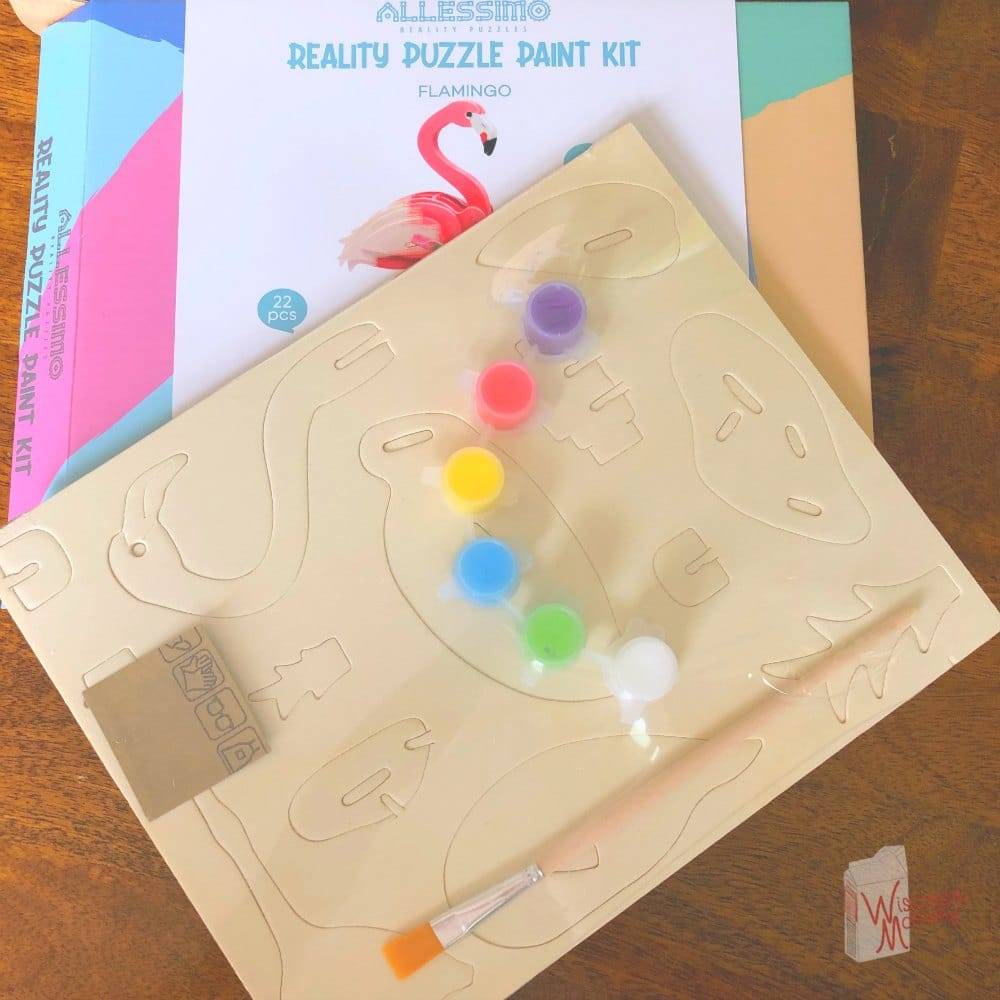 wooden puzzle pieces and paint