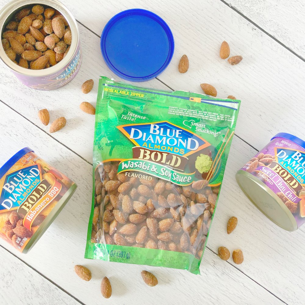 several cans of almonds and a bag